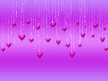 Dangling Hearts. Pink dangling hearts on purple gradient background Stock Images