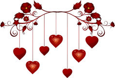 Dangling valentine hearts Stock Images