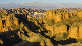 Heroic magical ice ditch Danxia. Dangou Scenic Area of Binggou is an important part of Zhangye Danxia National Geological Park. It is mainly distributed in Sunan stock images