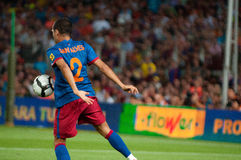 Dani Alves, F.C Barcelona player, plays against Manchester City Royalty Free Stock Photos