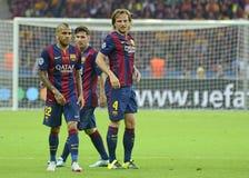 Dani Alves, Lionel Messi och Ivan Rakitic Royaltyfri Fotografi