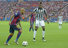 Dani Alves and Paul Pogba Stock Images