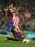 Dani Alves vies with Nacho Cases Royalty Free Stock Photography