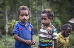 Dani kids in rural Baliem Valley. Baliem Valley, West Papua, Indonesia, February 14th, 2016: Dani tribe kids in rural area royalty free stock images