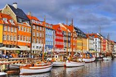 Dani Kopenhaga Nyhavn Obraz Royalty Free