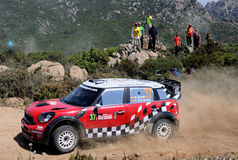 Dani Sordo. In the driver of the new Mini at the wrc in Sardinia Royalty Free Stock Photos