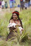 Dani stamkvinna på den årliga Baliem dalfestivalen Royaltyfri Bild