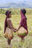 Dani tribal girls at the annual Baliem Valley Festival. Baliem Valley, West Papua/Indonesia - August 9, 2016: Portrait of a Dani tribal girls at the annual stock image