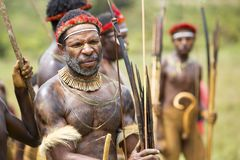 Dani tribesmen at the annual Baliem Valley Festival. stock images