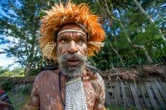 Close up Portrait of Dugum Dani man. DANI VILLAGE, WAMENA, IRIAN JAYA, NEW GUINEA, INDONESIA, 4 JUNE 2016: Close up Portrait of Dugum Dani Warrior Portrait. June Royalty Free Stock Photography