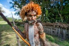 Close up Portrait of Dugum Dani man. DANI VILLAGE, WAMENA, IRIAN JAYA, NEW GUINEA, INDONESIA, 4 JUNE 2016: Close up Portrait of Dugum Dani Warrior Portrait. June royalty free stock photo
