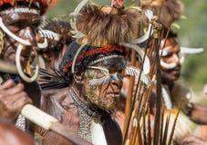Portrait of Yali Mabel, the chief of Dani Dugum tribe. DANI VILLAGE, WAMENA, IRIAN JAYA, NEW GUINEA, INDONESIA, 4 JUNE 2016: Close up Portrait of Yali Mabel royalty free stock photo