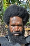 Portrait of Dani Man. A man with a beard from the Papuan tribe Dani. stock photos