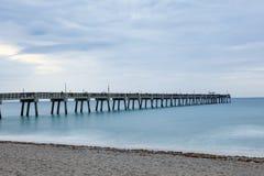 Dania Beach fishing pier, Florida. Dania beach fishing pier at dusk. Hollywood Beach, Florida, United States Royalty Free Stock Photography