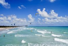 Dania Beach Kite Surfers fotografie stock