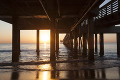Dania strandpir på soluppgång Hollywood Florida Arkivfoto