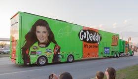 Danica Patrick #10 NASCAR Hauler. Go Daddy sponsored Danica Patrick driver of the #10 Chevrolet NASCAR Sprint Cup Series race car hauler Royalty Free Stock Photo