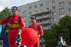 Daniel Abt and Lucas di Grassi at the E-Prix FIA Formula E Award Ceremony. Berlin, Germany - May 21, 2016: German racing driver Daniel Abt and Brazilian racing royalty free stock photography