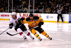 Daniel Alfredsson and Patrice Bergeron Royalty Free Stock Images