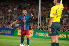 Daniel Alves, F.C Barcelona player, angry with the referee Royalty Free Stock Image