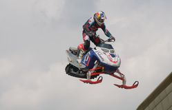Daniel Bodin (Belgium) on a snowmobile Royalty Free Stock Images