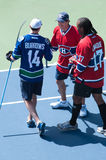 Daniel Briere, George Laraque, Burrows at Rogers Cup 2013 Royalty Free Stock Photo