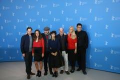 Daniel Bruehl, Darren Aronofsky, Audrey Tautou. BERLIN, GERMANY - FEBRUARY 05: Daniel Bruehl, Darren Aronofsky, Audrey Tautou, attend the Jury press conference royalty free stock photo