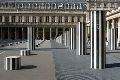 Daniel Buren's Columns. Paris, France Stock Photography