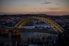 Daniel Carter Beard Bridge - Interstate 471 - Ohio River - Cincinnati, Ohio & Newport, Kentucky. A late evening / sunset view of the Daniel Carter Beard steel stock image