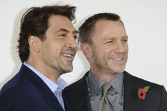 Daniel Craig, Javier Bardem, James Bond. Javier Bardem and Daniel Craig at the phoptocall to announce the start or production of the new James Bond film 'SKYFALL Stock Image