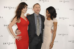 Daniel Craig, Naomie Harris, Berenice Marlohe, James Bond. Berenice Marlohe, Naomie Harris and Daniel Craig at the phoptocall to announce the start or production Royalty Free Stock Images