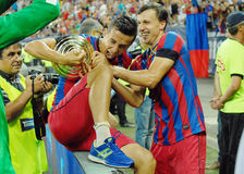 Daniel Georgievski and Vlad Chiriches fight for trophy Stock Photography
