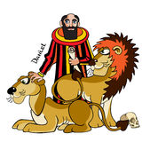 Daniel and lions. The Jewish prophet and wise man Daniel is in a ditch with lions cannibals, Bible illustration Stock Photo