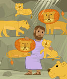 Daniel With Lions. Cute illustration of Daniel in the lions den. Eps10 vector illustration