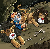 Daniel in the lions den cartoon. Bones laying about but Daniel is not worried stock illustration