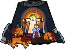 Daniel in the Lions Den. Cartoon illustration of Daniel in the lions den, being delivered by an angel from the mouths of the beasts royalty free illustration