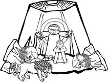 Daniel in the Lions Den. Cartoon illustration of Daniel in the lions den, being delivered by an angel from the mouths of the beasts. This is the black and white stock illustration