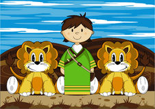 Daniel and the Lions. Vector Illustration of a Cute Cartoon Daniel and the Lions Bible Illustration royalty free illustration
