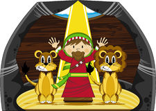Daniel and the Lions. Vector Illustration of a Cute Cartoon Daniel and the Lions Bible Illustration. An EPS file is also available vector illustration