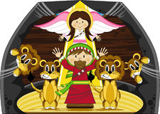Daniel and the Lions. Vector Illustration of a Cute Cartoon Daniel and the Lions Bible Illustration. An EPS file is also available royalty free illustration