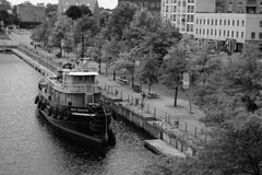 Daniel McAllister. Boat on the Canal Lachine in Montreal royalty free stock photos