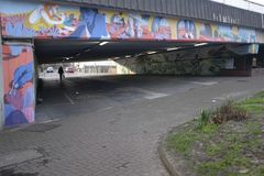 Daniel McCarthy`s mural in Croydon. Daniel McCarthy`s mural can be found on the Jubilee Bridge underpass at Reeves Corner in Croydon, UK Stock Photo