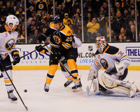 Daniel Paille against Ryan Miller. Royalty Free Stock Images