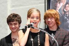 Daniel Radcliff, Daniel Radcliffe, Emma Watson, Rupert Grint arkivbild