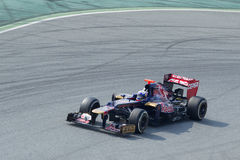 Daniel Ricciardo Toro Rosso on curve - Barcelona Royalty Free Stock Photo
