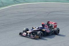 Daniel Ricciardo Toro Rosso op kromme - Barcelona Royalty-vrije Stock Foto