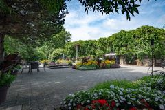 Daniel A. Seguin visitor center front garden with various annuals, Quebec royalty free stock photography