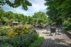 Daniel A. Seguin visitor center front garden with various annuals, Quebec stock photos