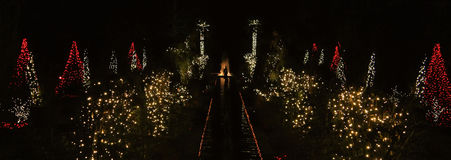 Daniel Stowe Botanical - Christmas 4. Daniel Stowe Botanical Garden in Belmont NC decorated with Christmas lights at night royalty free stock image