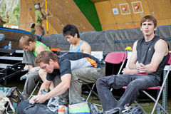 Daniel woods and other climbers resting. Royalty Free Stock Photo